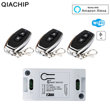 QIACHIP WiFi Wireless Smart Light Switch 433MHz 10A 2200W 1 CH RF Receiver Module + 433 Mhz RF Transmitter Remote Control Switch hot sales rf wireless remote control light switch dc12v mini 10a intelligent family system 3x receiver 1x waterproof transmitter