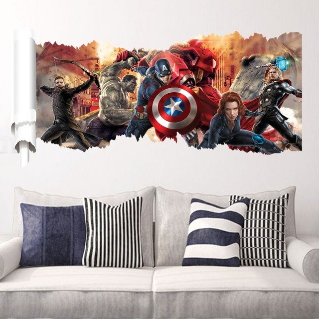3D movie Marvel hero Hulk iron Man Captain The Avengers PVC Decals Wall Stickers Mural Home Decor kids boy bedroom birthday gift