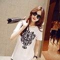 Venta caliente Mujeres de La Camiseta 2016 de Impresión Única Verano Tops Mujeres Camiseta Blanca Del O-cuello de Manga corta Camisetas Tee Femme Envío gratis