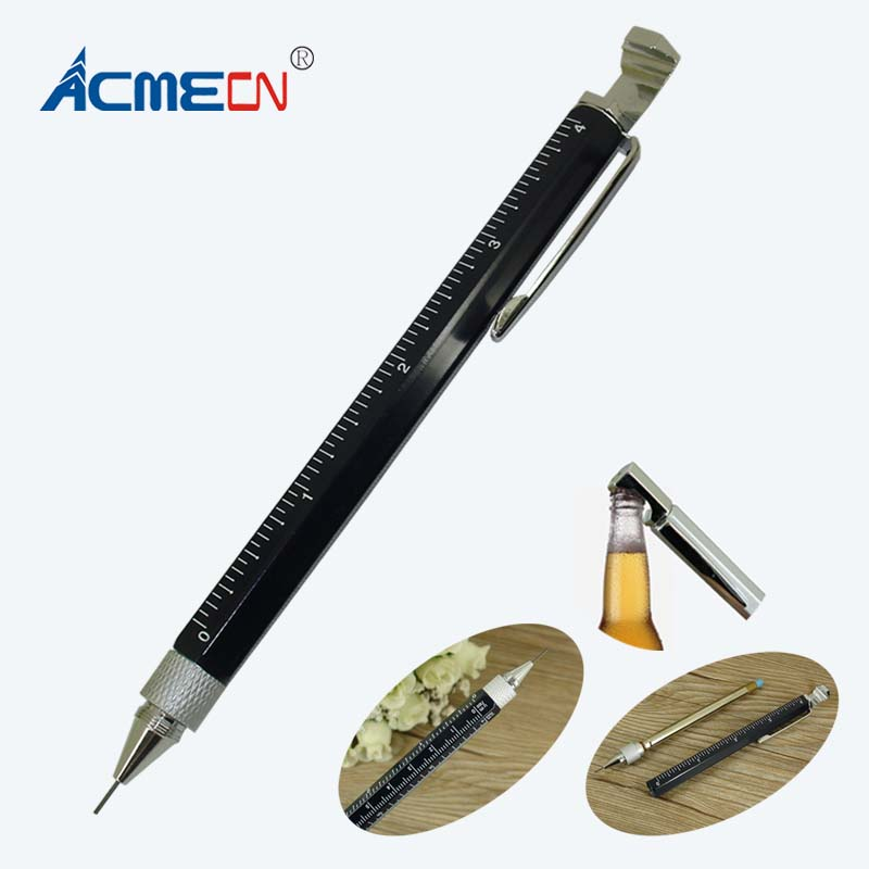 ACME 2018 Aluminium Hexagon Mechanical Pencil for Marking Sketching and Writing with Bottle Opener Metal Multi-Ruler Tool Pencil