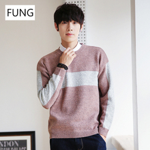 FUNG Men's Sweater 2018 New Fashion Winter Sweater Men loose Knitted Patchwork Pullover Sweater Men