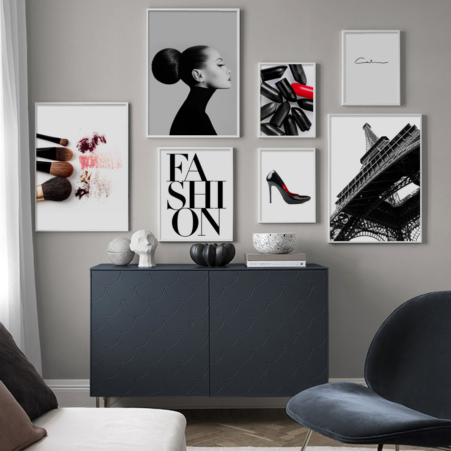 Canvas Painting Lipstick Posters Paris-Tower Wall-Pictures Living-Room-Decor Prints High-Heels