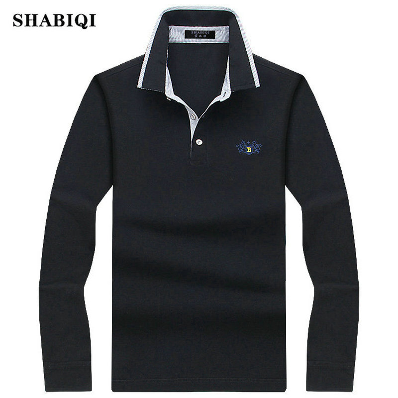 SHABIQI 2018 Men   Polo   Shirt Mens Long Sleeve Solid   Polo   Shirts Camisa Casual cotton   Polos   Masculina Plus size S-10XL