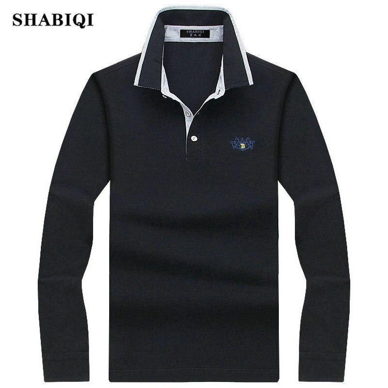SHABIQI 2019 Men Polo Shirt Mens Long Sleeve Solid Polo Shirts Camisa Casual cotton Polos Masculina  Plus size S-10XL