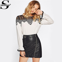 Sheinside Contrast Lace Color Block York Pom Pom Bell Cuff Work Wear Blouse Ladies Round Neck