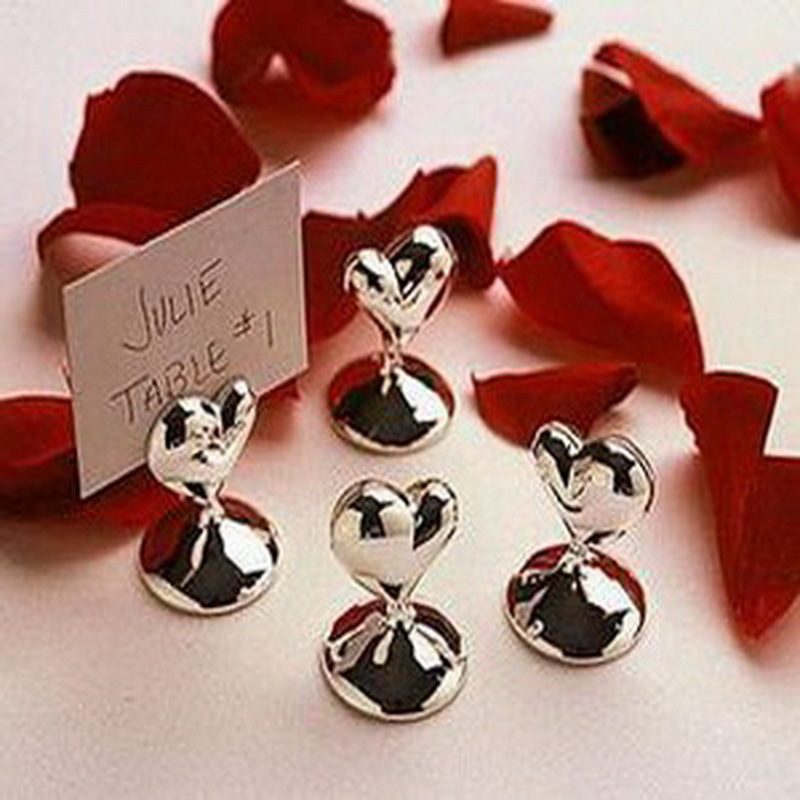 100pcs Lot Mini Design Heart Shape Chrome Place Card Holders Wedding Table Decoration Gift Bridal Shower