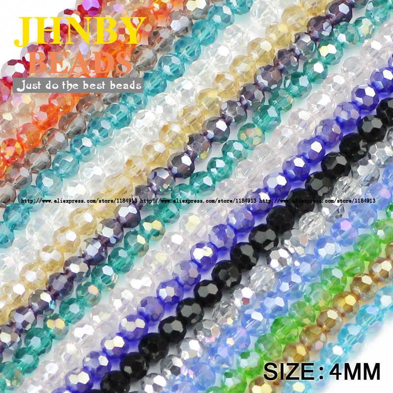 JHNBY Calcio Sfaccettato Austriaco perline di cristallo 4 millimetri 100pcs di Alta qualità Rotonda sfera branelli Allentati per monili che fanno braccialetto FAI DA TE