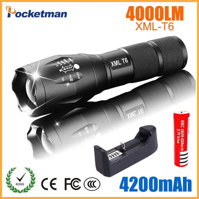LED Rechargeable Flashlight CREE XML T6 linterna torch 4000 lumens 18650 Battery Outdoor Camping Powerful Led Flashlight crazyfire led flashlight 3t6 3800lm cree xml t6 hunting torch 5 mode 2 18650 4200mah rechargeable battery dual battery charger page 7