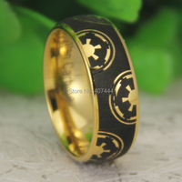 Free Shipping USA UK Canada Russia Brazil Hot Sales 8MM 18K Gold Dome Star Wars Imperial