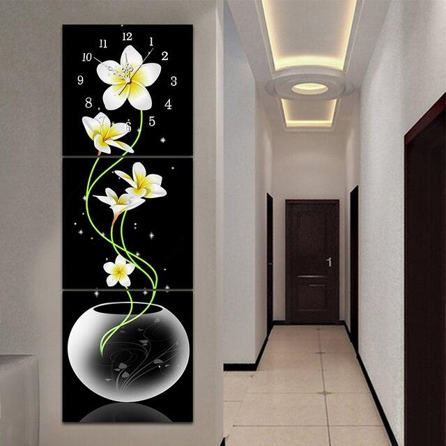 5D bricolage fleurs de lys broderie diamant   Peinture diamant, horloge point de croix, perceuse complète, mosaïque diamant rond, décor de maison