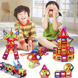 108 Uds tamaño estándar DIY bloques de construcción magnéticos imán mágico que tira bloques de construcción magnéticos ensamblados regalos para niños