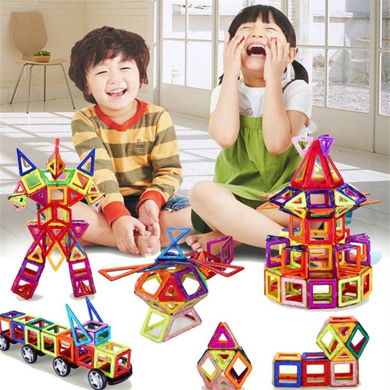 108 db szabványos méret DIY Mágneses építőelemek mágneses mágneses építőelemeket összeszerelve ajándékokat gyermekeknek