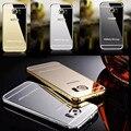 Borda S6/S7 Caso, luxo de ouro caixa de metal + acrílico superfície do espelho tampa traseira para samsung galaxy s6 edge/s6 g9200 borda s7 caso de telefone
