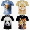 Высокое качество летом большие мальчики повседневная популярные 3d животное рисунок печатных короткими рукавами, на шее футболку 14-20 лет