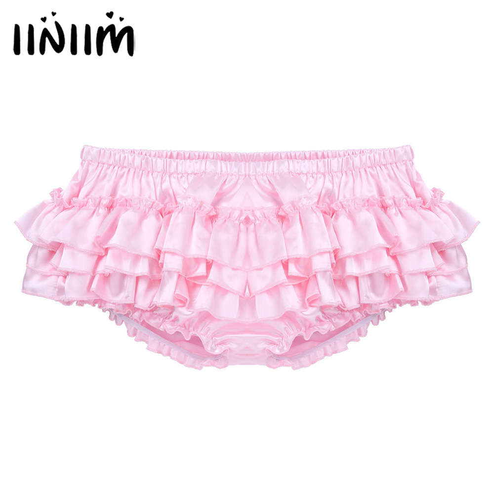 Iiniim Mens Lingerie Gay Panties Shiny Satin Ruffled Bloomer Tiered Skirted Panties Briefs For Sexy Bikini Male Sissy Underwear