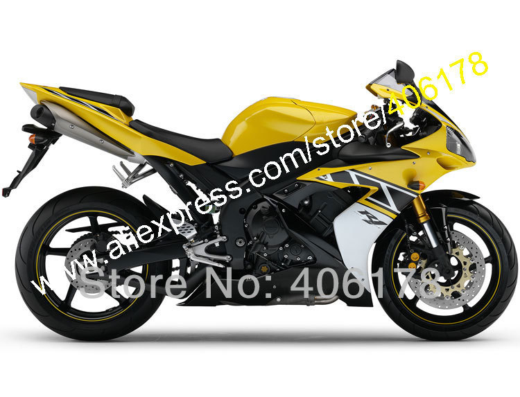 Hot Sales,For Yamaha YZF R1 2004 2005 2006 YZF1000 04 05 06 YZF R1 YZF-1000 R1 Yellow Black Fairing set (Injection molding) mfs motor motorcycle part front rear brake discs rotor for yamaha yzf r6 2003 2004 2005 yzfr6 03 04 05 gold