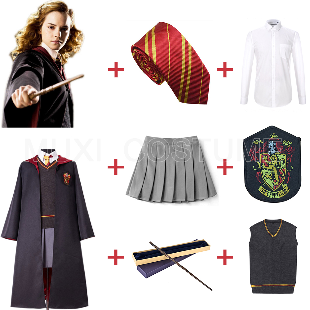 Gryffindor Uniform Hermione Granger Cosplay Costume Kids Adult Version Halloween Party New Gift for Harri Potter Cosplay