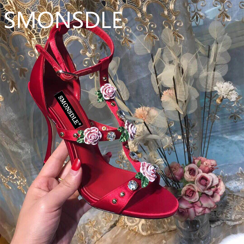 2018 New Summer Real Silk Women Sandals Crystal Floral Open Toe Thin High Heels Shoes Woman Black Red Buckle Strap Sandals Women women pointed toe buckle thin high heels red bottom sandals shoes t strap print leather plus size lady sandals 42 51 sxq0710