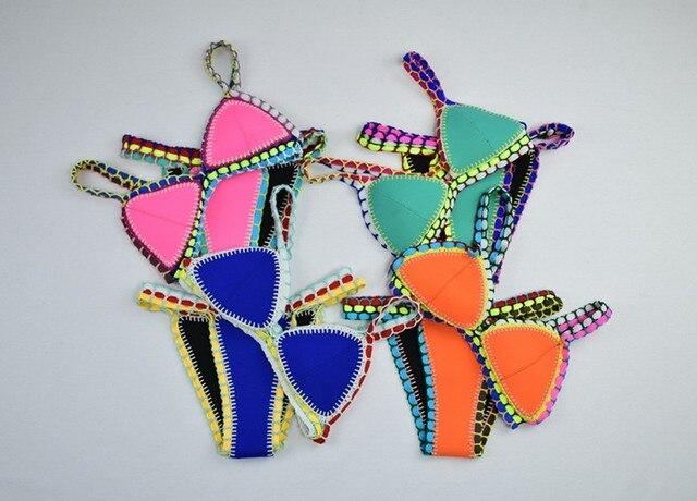 Handmade Crochet Neoprene Bikini Set Kiini Style Triangle Bath Suit