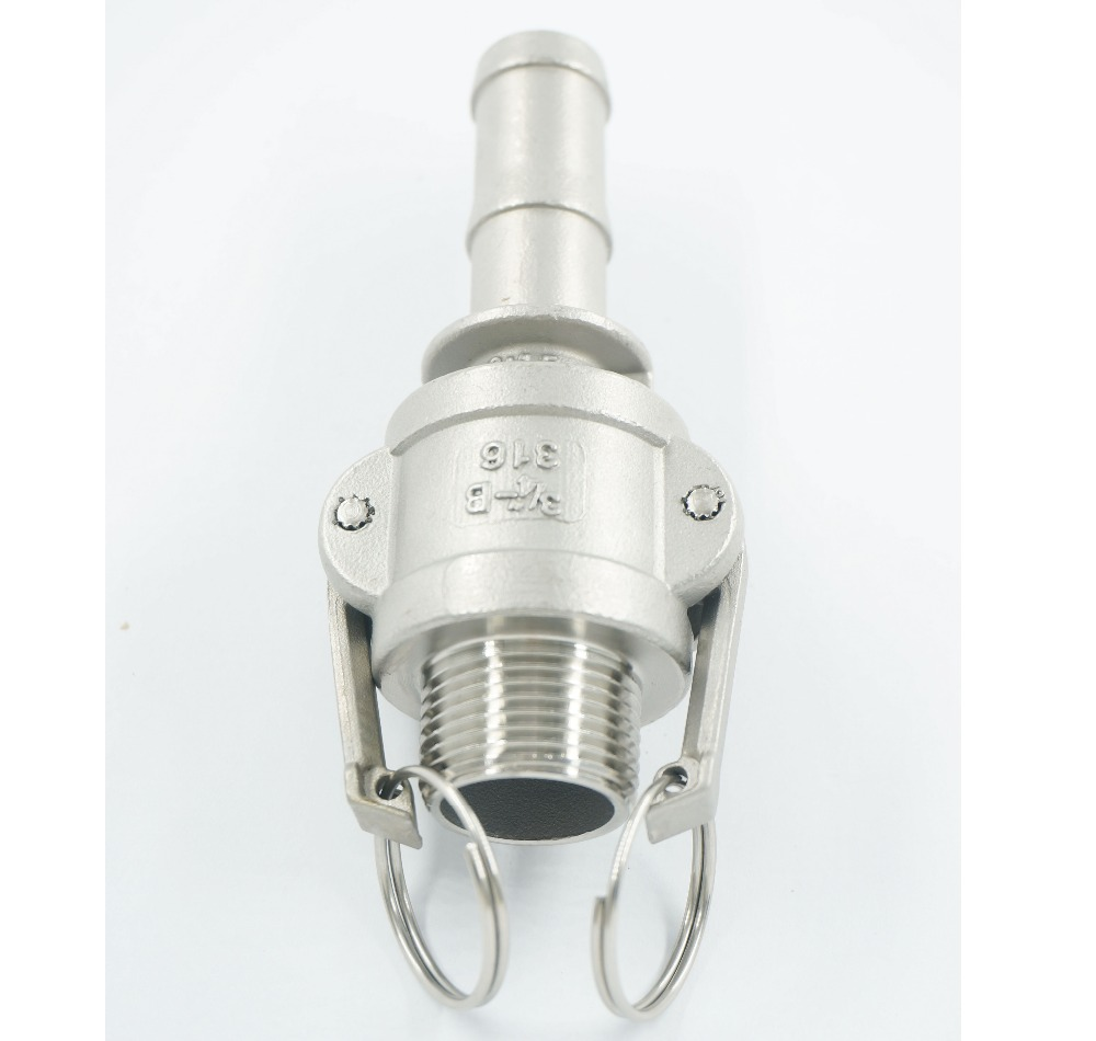 """1/2""""  to 2""""  Type B +  E   Quick Camlock Adapter 304 Stainless Steel Male Coupler  BSPT Thread"""