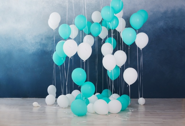 Laeacco Blue White Balloons Baby Birthday Children Photography Backgrounds Customized Photographic Backdrops For Photo Studio