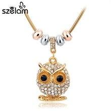Fashion Crystal Owl Necklace 2016 Vintage Gold/Silver Necklace For Women Vintage Jewelry SNE150770 vintage artificial crystal floral necklace for women