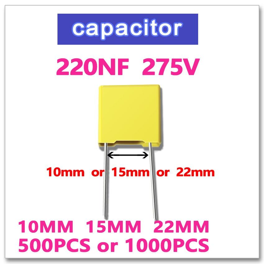 цена на 220NF 500PCS 1000PCS safety X2 275VAC Pitch 10mm 15mm 0.22UF 224 10% K 275V