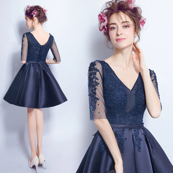 2017 new arrival stock maternity plus size bridal gown backless evening dress Dark navy Blue Lace deep v neck sexy short 2407q