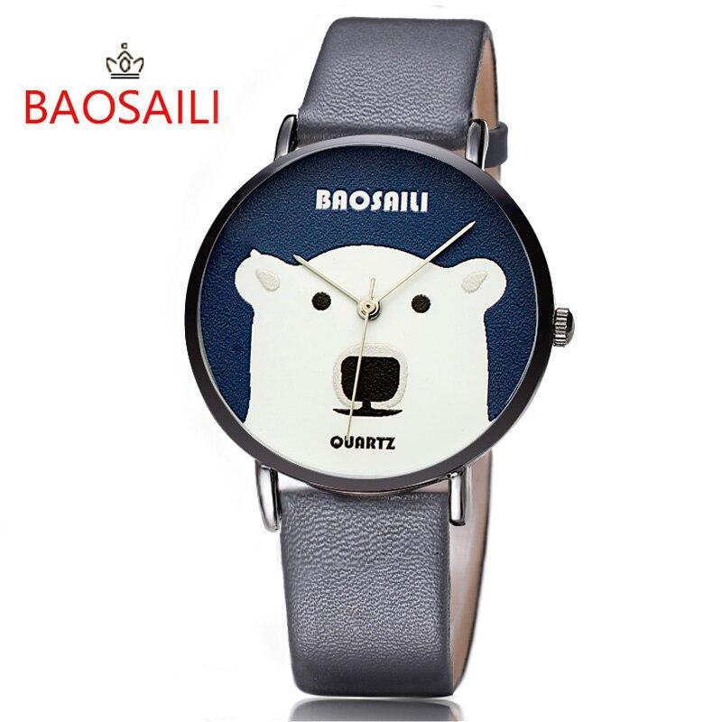 Bsl1016 baosaili big white bear design animal cartoon watch for girls ladies smiple wrist watch for Cartoon watches