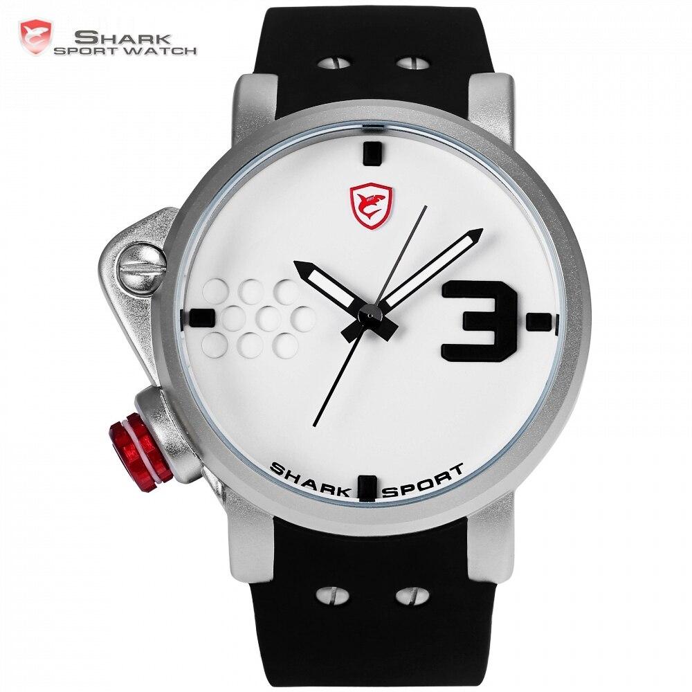 Salmon SHARK Дизайнер Спортивные Часы Большой Циферблат Кварцевые Часы Бренда Белый Мужчина Военная Силиконовые Водонепроницаемый Relogio Masculino/SH521