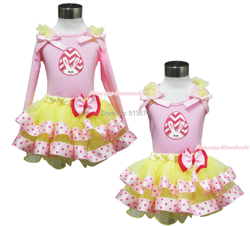 ФОТО Easter Chevron Bunny Egg Pink Top Yellow Hot Pink Dot Satin Trim Pettiskirt 1-8Y MAPSA0405