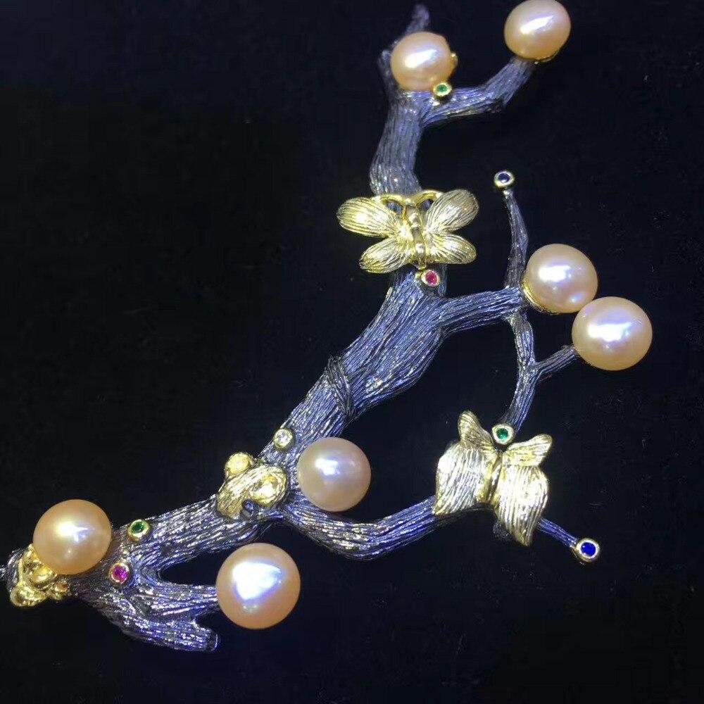 Véritable naturel eau douce perle broche broches branche d'arbre vintage mode femmes bijoux blanc gris violet couleur papillon - 2