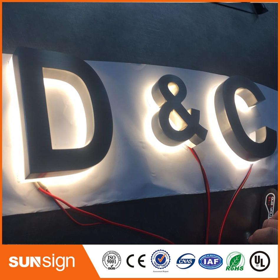 Brushed Metal Outdoor Backlit Letters