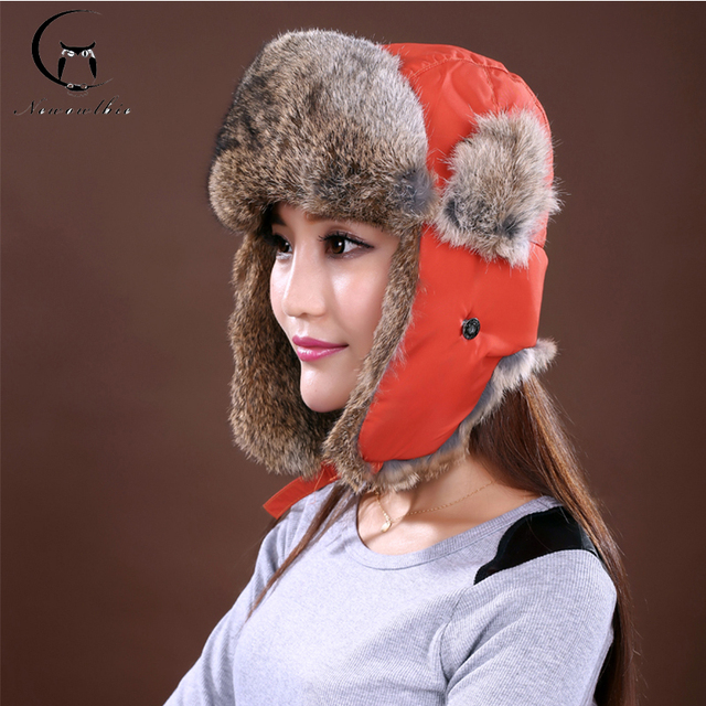 Outdoor Sports Lovers Winter Hats 2016 New Waterproof Warm Hat Real Nature Rabbit Fur Hats Beret Cap Natural Color Free Shipping
