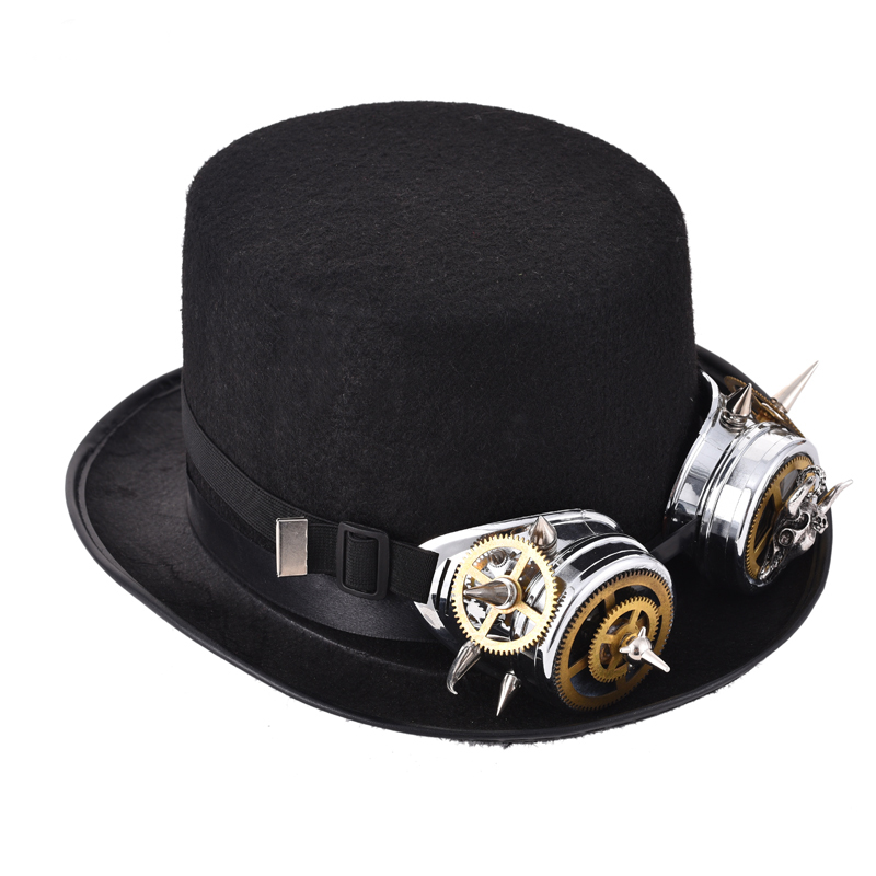 721aa3eabeb Vintage Unique Steampunk Goggles Top Hat Retro Fedoras Hat Lolita Cosplay  Rivet Spikes Goggles Hat Gothic Accessories