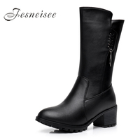 2017 New Winter Mid Calf Boots Woman Boots Genuine Leather Round Toe High Heels Rain Boots