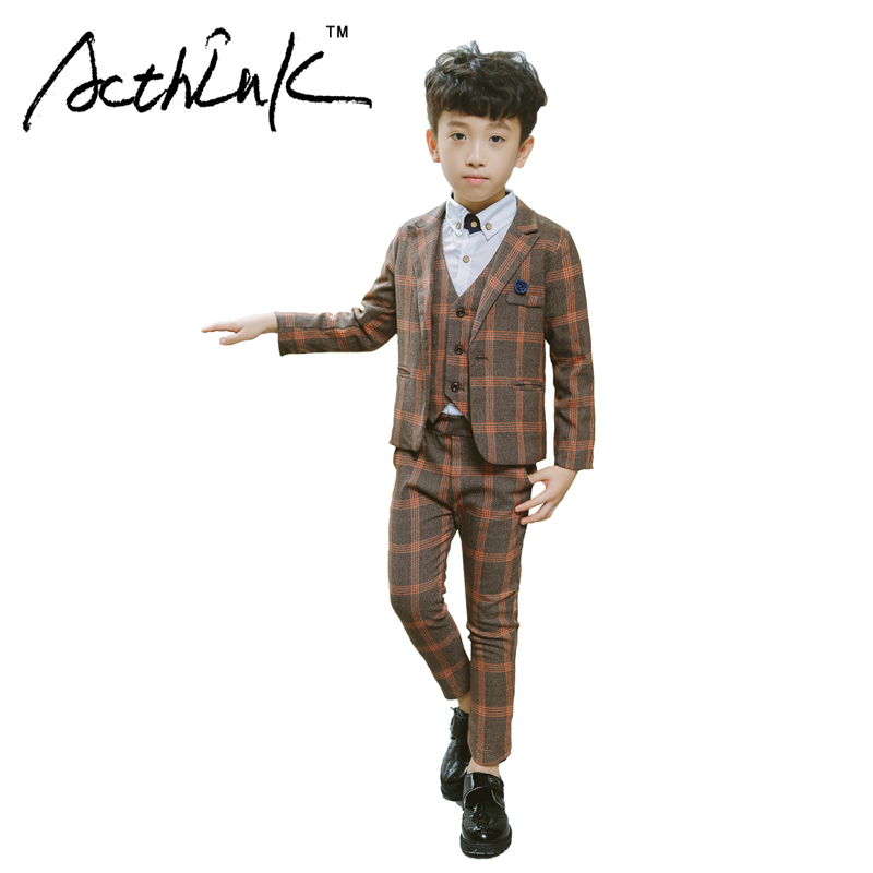 ActhInK 2017 New Boys 3PCS Plaid Formal Wedding Suit Vest+Coat+Pant Brand Children Party Tuxedos Performance Wear for Boys,MC042 boy blazer suit 2018 boys 3pcs plaid formal wedding suit vest coat pant brand children party tuxedos performance wear for boys
