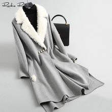 be7fe83878c Women s Long Casual Nature Wool Coats and Jackets with Lamb Fur Collar  Winter Autumn Warm Windproof Overcoat A