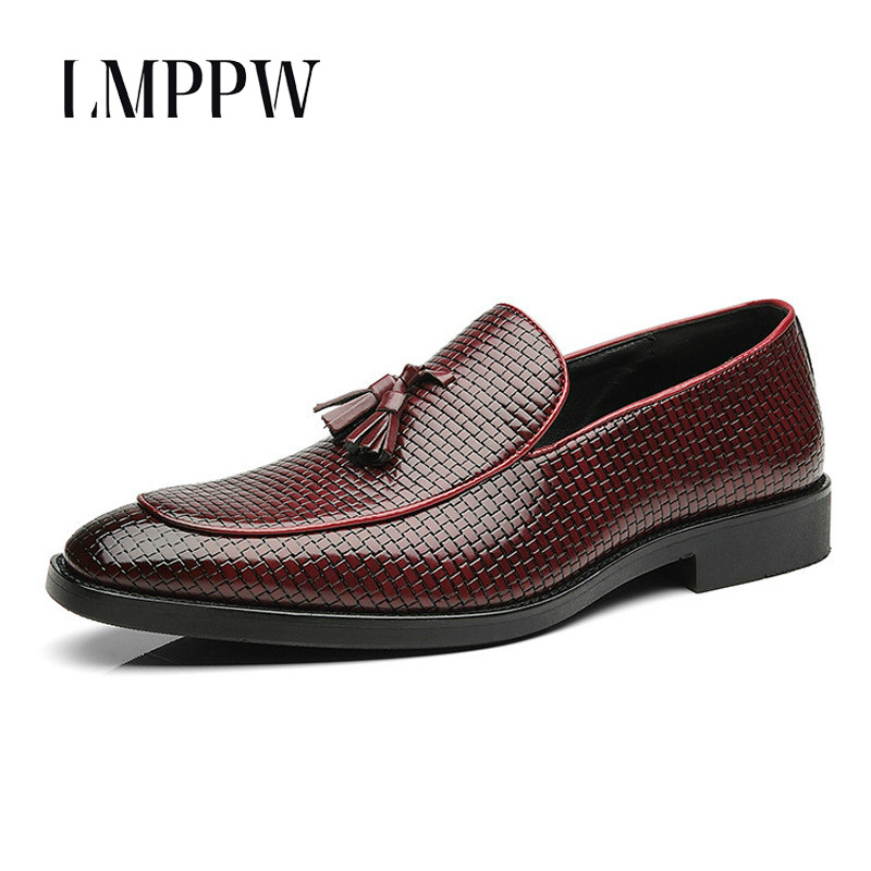 New 2018 Men Formal Wedding Leather Shoes Luxury Men Business Dress Shoes Fashion Tassel Oxfords Gentleman Men Loafers Black