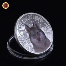 Фотография WR 999 Silver Coins Wild Snow Wolf Pattern Colouring Commemorative Coins Protect Wildlife Animals Value Gift Business Birthday