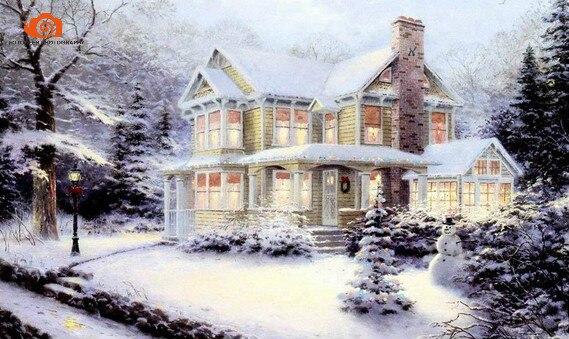 10x20 футов ручная роспись муслин Рождество Дети фотографии фоны, снег зима сценический свадебный фон для фотосессии