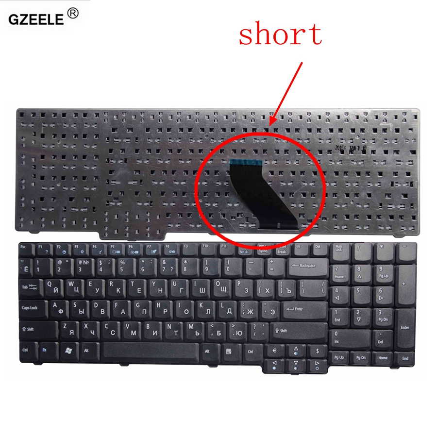 GZEELE Laptop Keyboard FOR ACER 5610 5620 ZR6 9400 7000 7110 EMachines E528 E728 Short Cable RU BLACK Replace Keyboards RUSSIAN