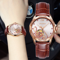 JSDUN Japan movement Mechanical Automatic Watches Women Luxury Leather Red Rhinestone Fashion Hollow Music logo relogio feminino