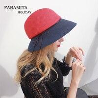 Faramita Holiday Summer Weave Straw Hats Women Bucket Hat Elegant Color Matching Sun Hat Ladies Beach Hats Caps Wide Brim Womens