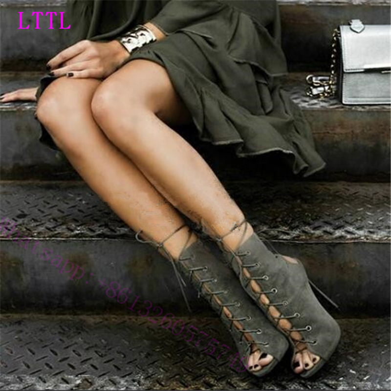 ФОТО  2017 high quility women  gladiator pump Round head of fine with toe high heels bind fish mouth shoes women of Rome wedding