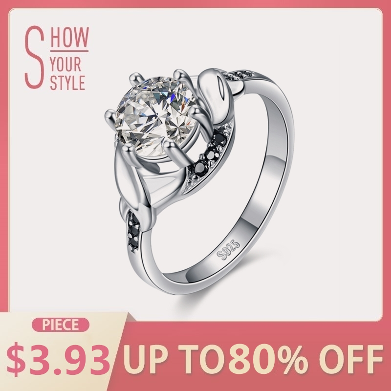 2018 Neue Einfache 925 Sterling Silber Edlen Schmuck Engagement Schwarz Spinell Runde Engagement Ring Für Frauen Anillos Mujer G076