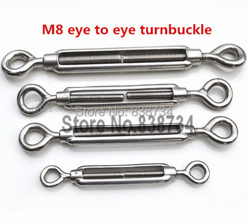 5pcs 304 stainless steel m8 <font><b>turnbuckle</b></font> strainer fence wire tensioner eye to eye image