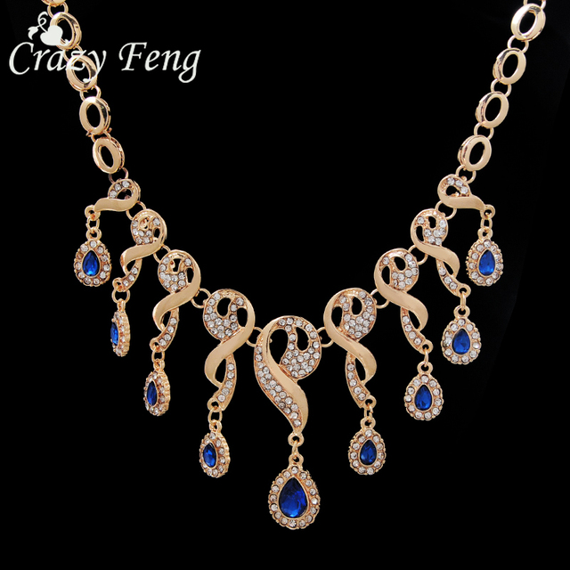 4Pcs Luxury Wedding Bridal Jewelry Sets  Gold-color Blue Gem Stone Crystals Water Drop Beads Tassel Bib Statement Necklace