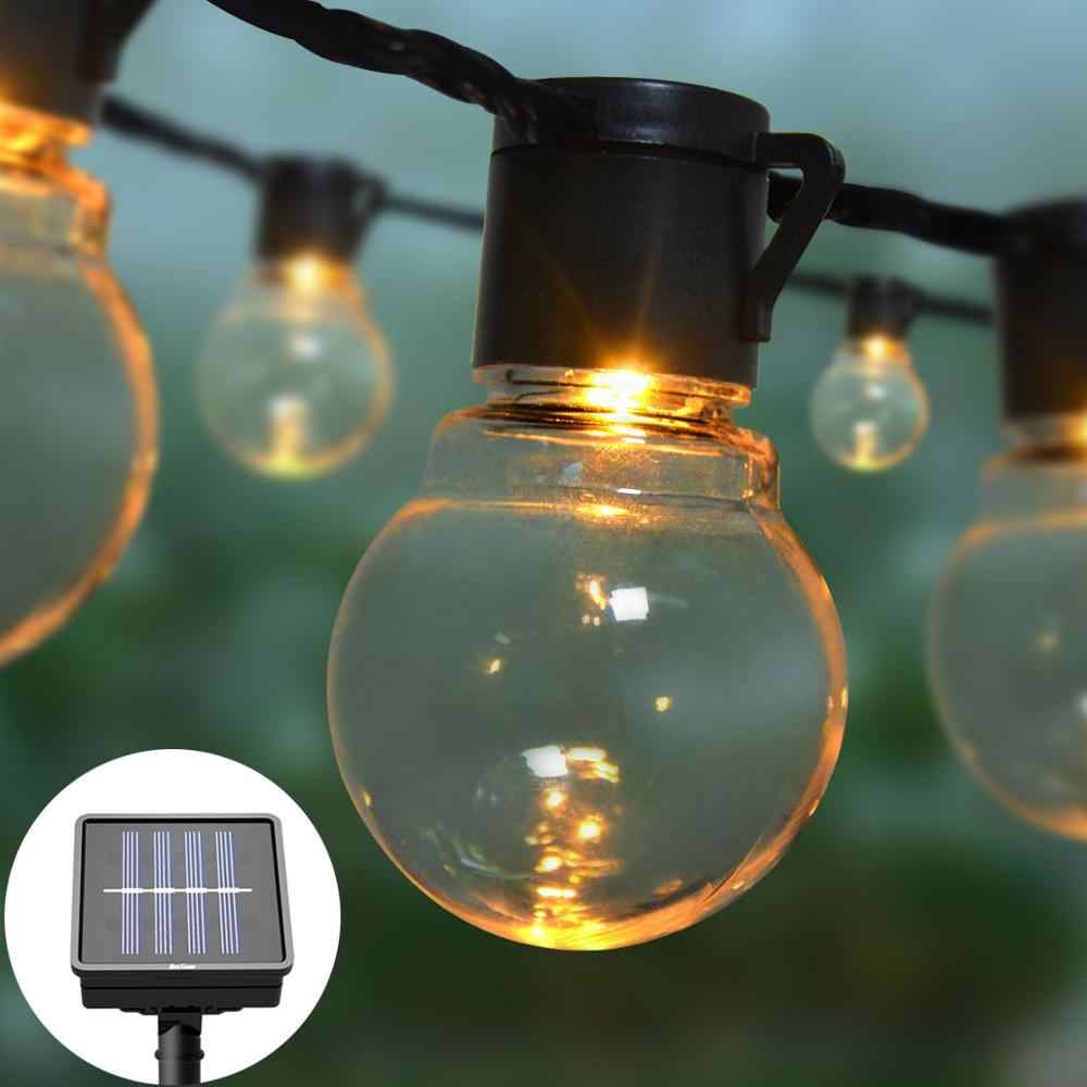 2.5M 5M Solar Power LED Decorative light String With 10/20 LED Globe Bulbs Fairy lights Garland Garden Outdoor Decoration lamp