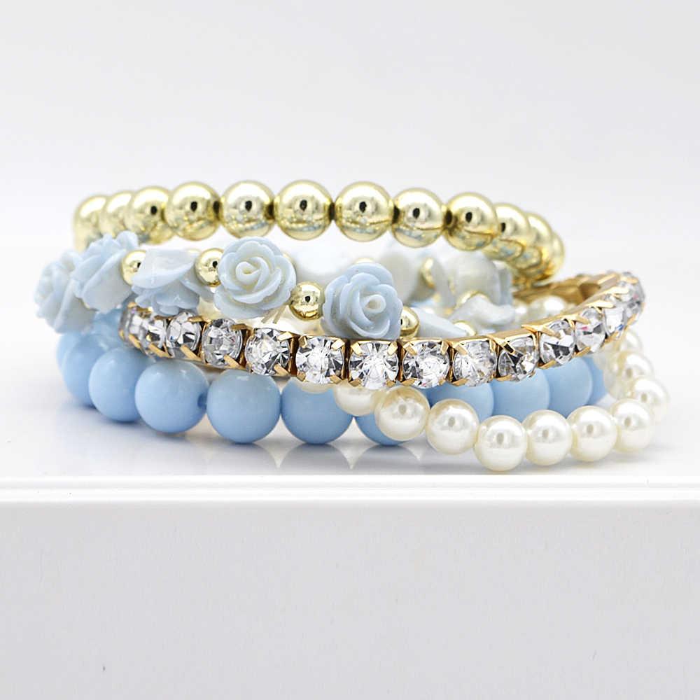 5 pcs/set Bohemian Simple Style Women Bracelet Cute Rose Flower Imitation Pearl Beads Bracelet & Bangles Handmade DIY Jewelry
